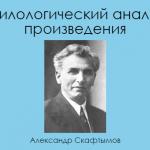 Филологический анализ произведения (по А. Скафтымову)